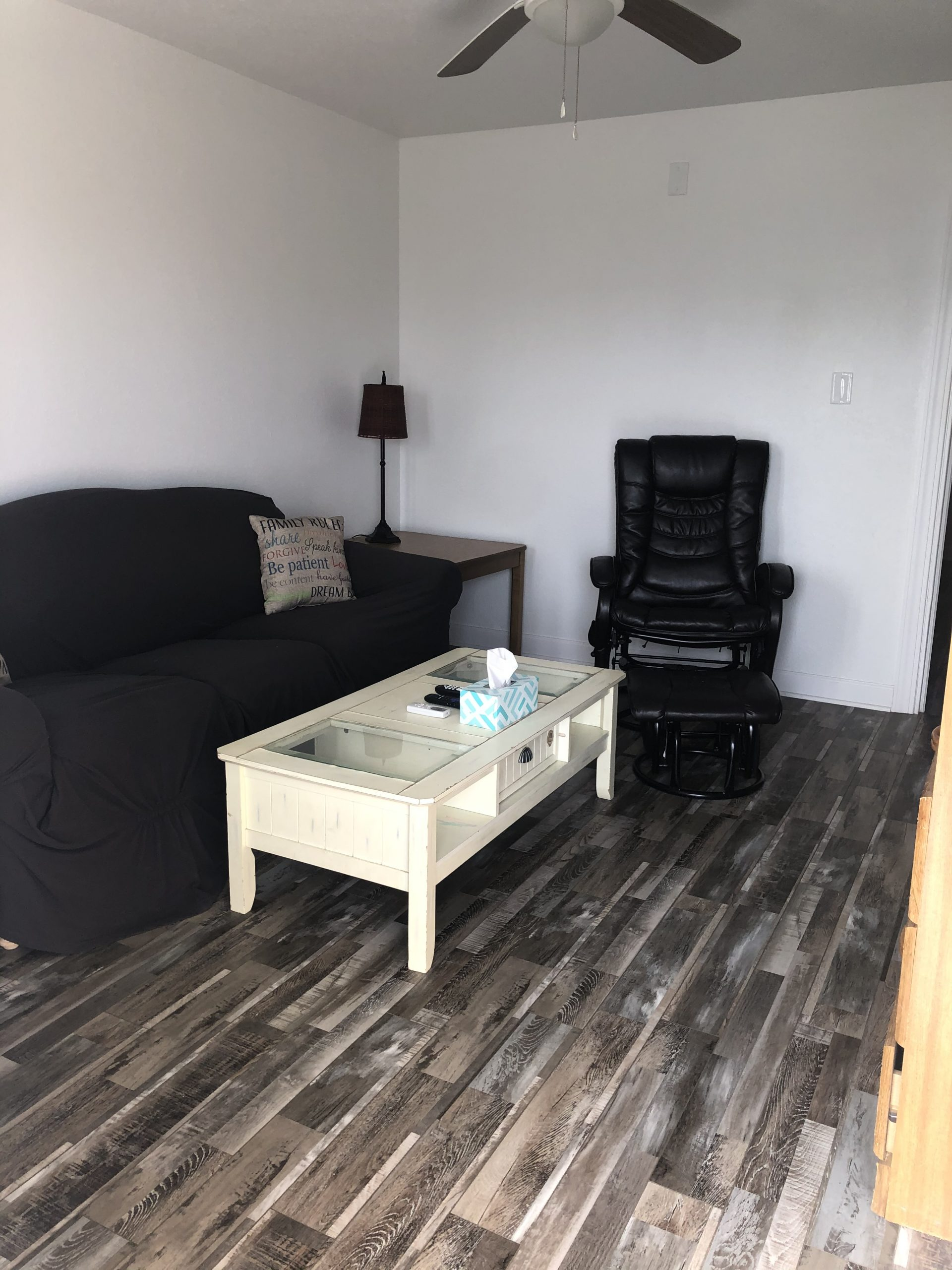 therapy chair and quiet space in a resident unit at changing tides