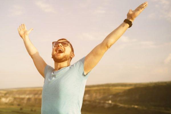 Happy sober man retro image - Sober living services